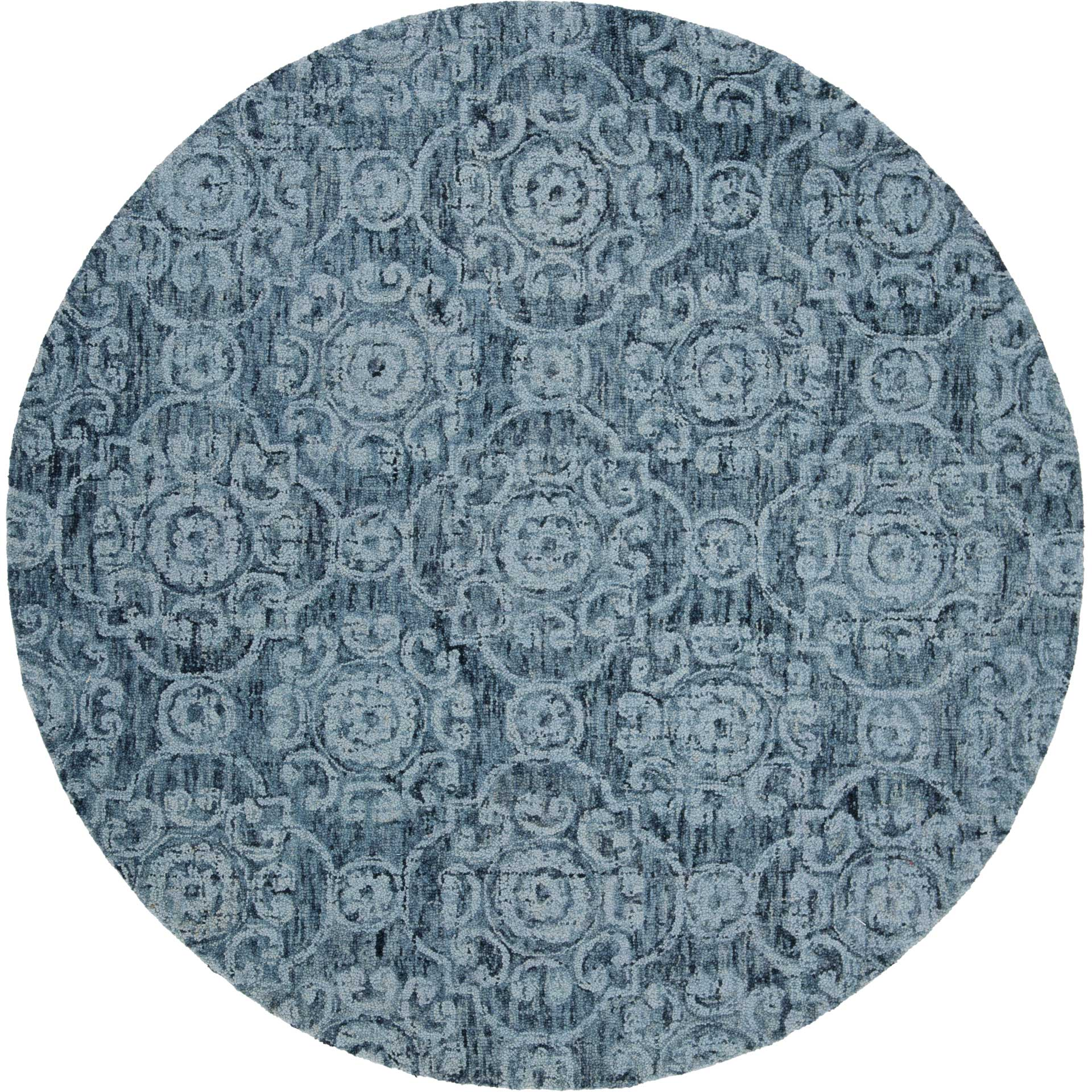 Abstract Blue Round Rug