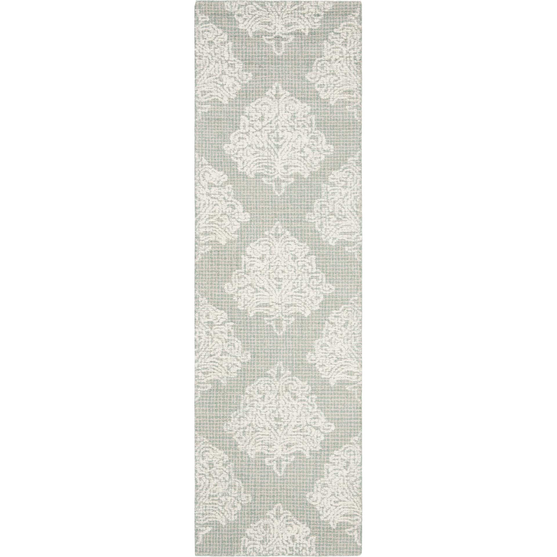 Abstract Aqua/Ivory Runner Rug