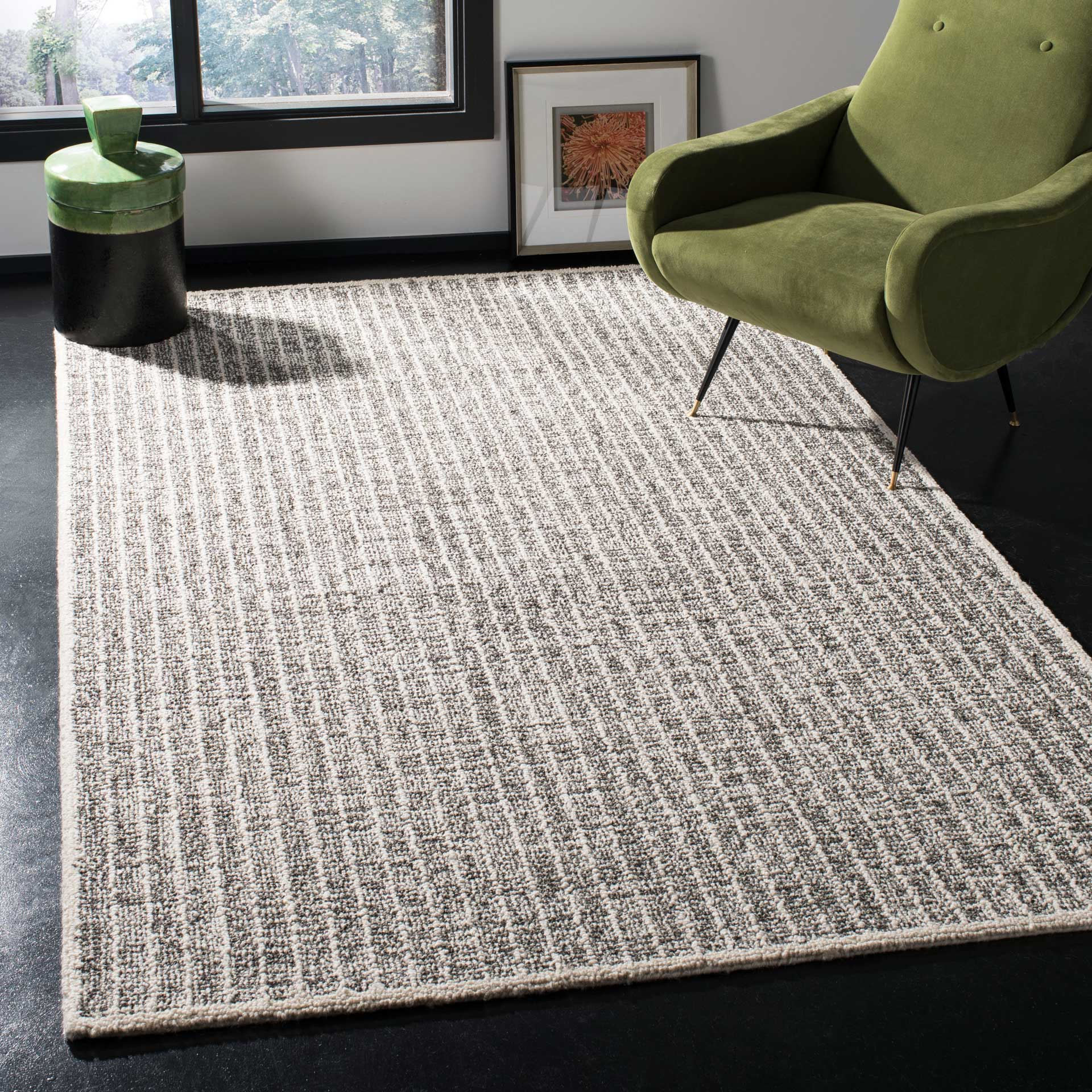 Abstract Ivory/Black Area Rug