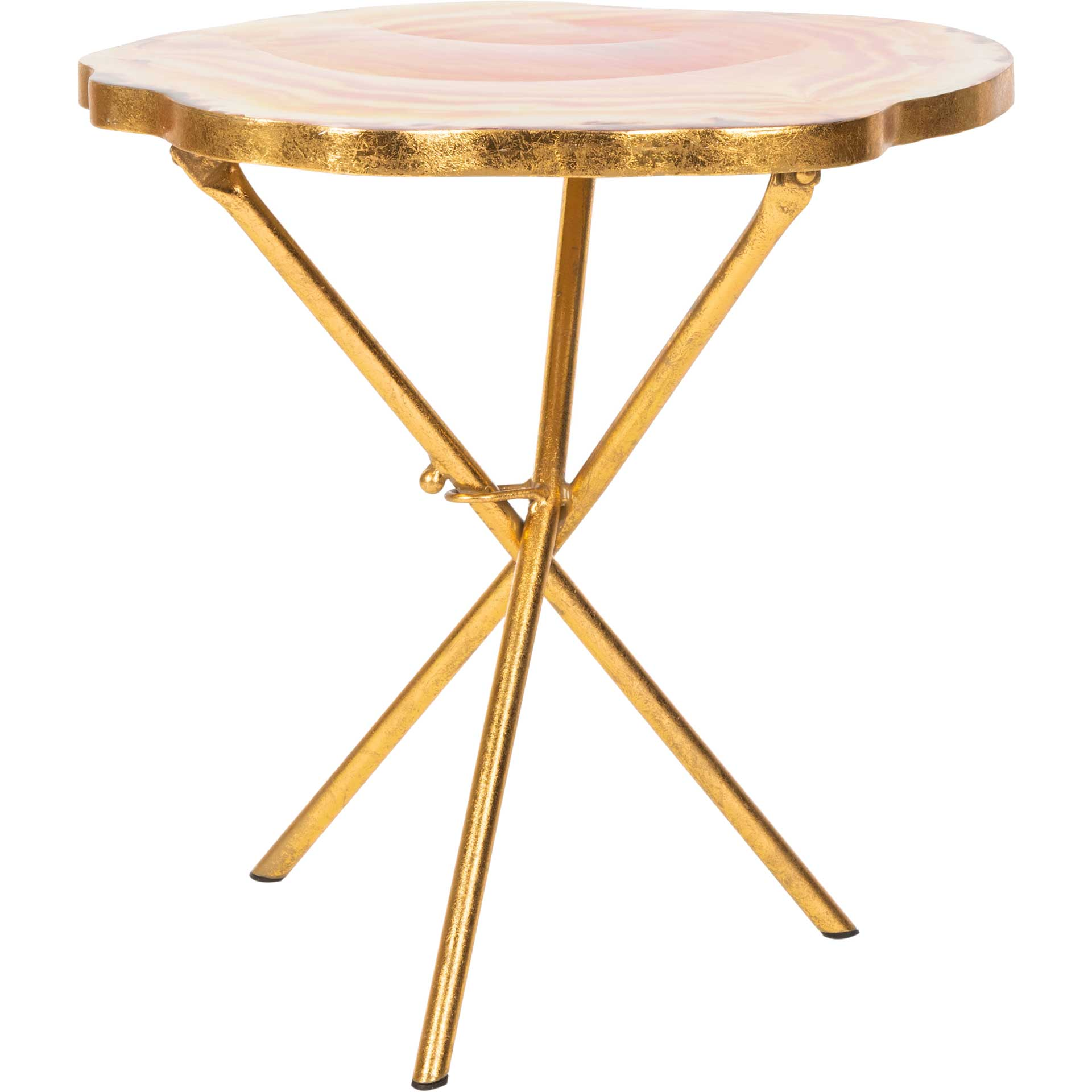Giovanna Faux Agate Side Table Multi Orange/Gold