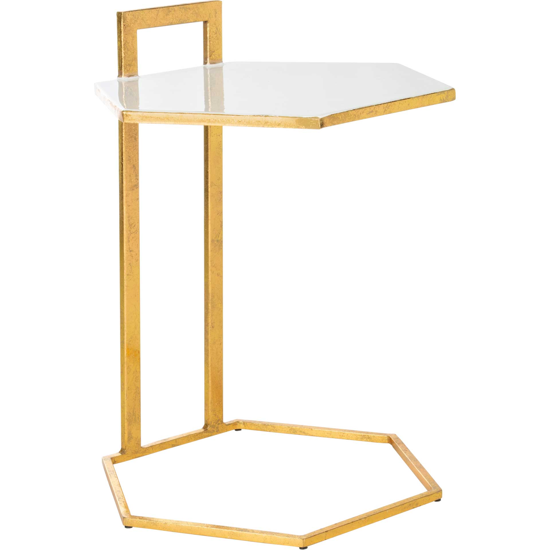 Mireya Hexagon C Table White/Gold
