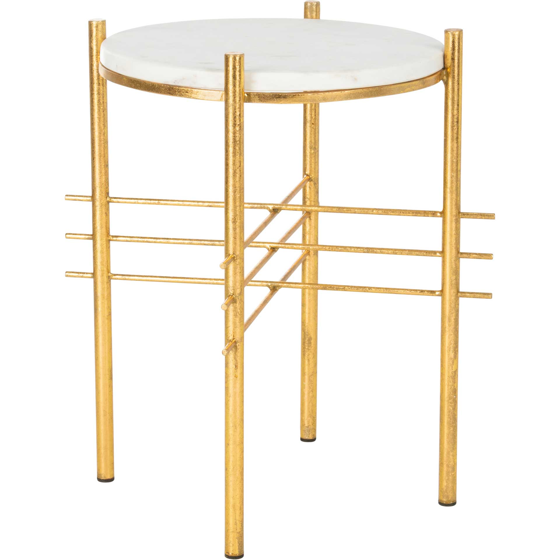 Jeffrey Round Accent Table White Marble/Gold