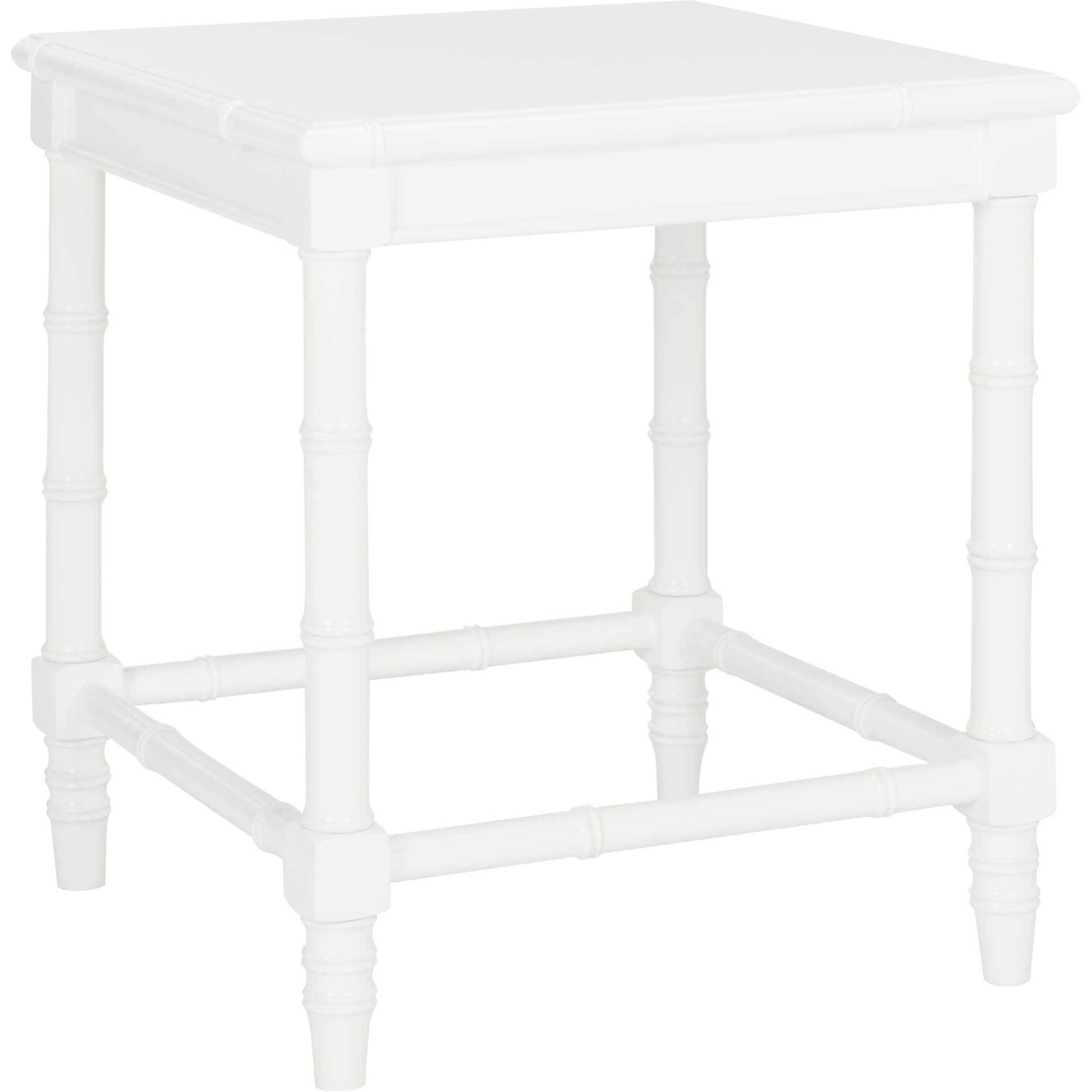 Lilian Coastal Bamboo Accent Table White