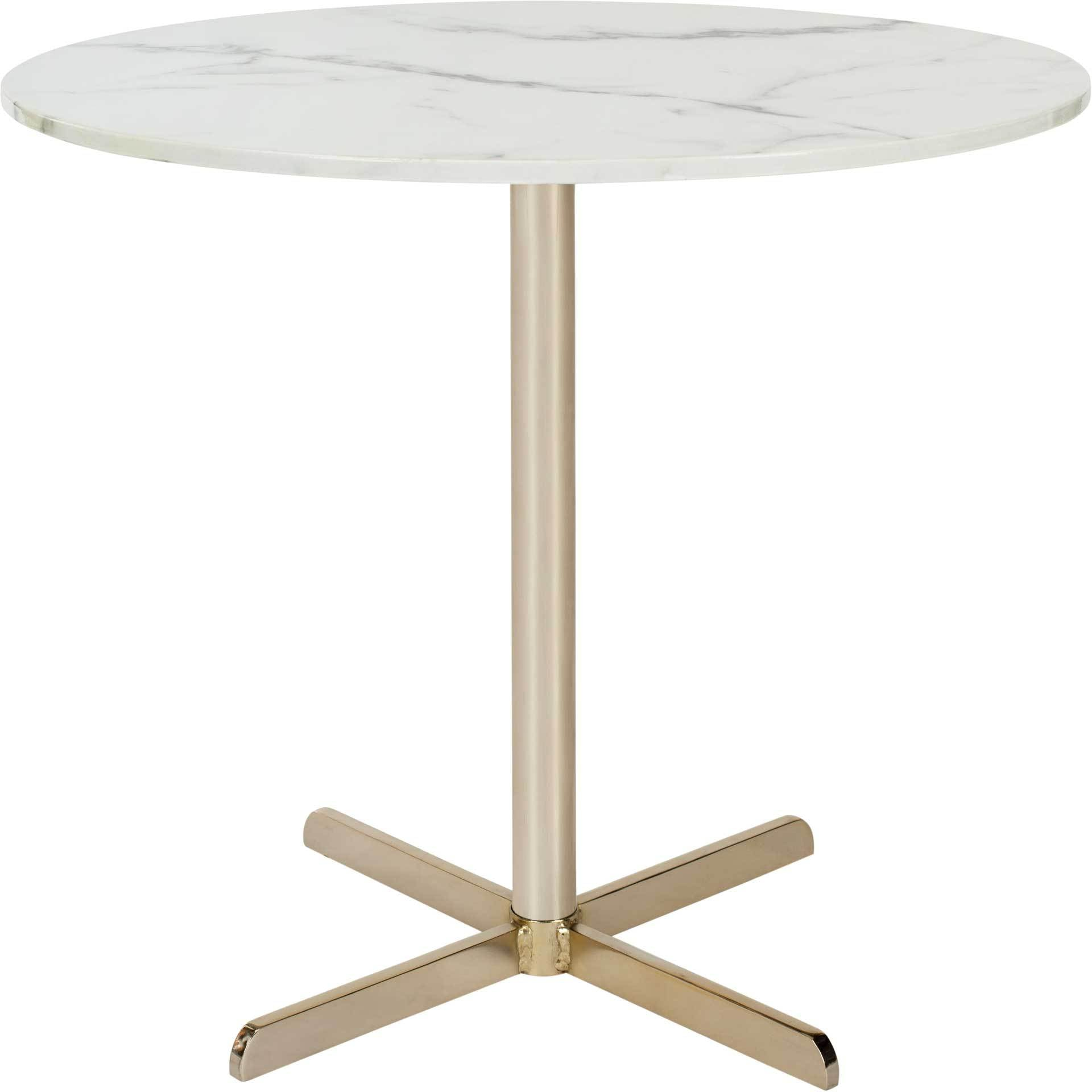 William Round Side Table White Marble/Brass