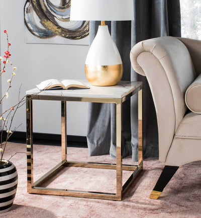 Benjamin Square End Table White Marble/Brass