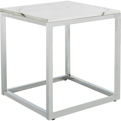 Benjamin Square End Table White Marble/Chrome