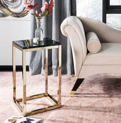 Leroy Square Side Table Black Marble/Brass