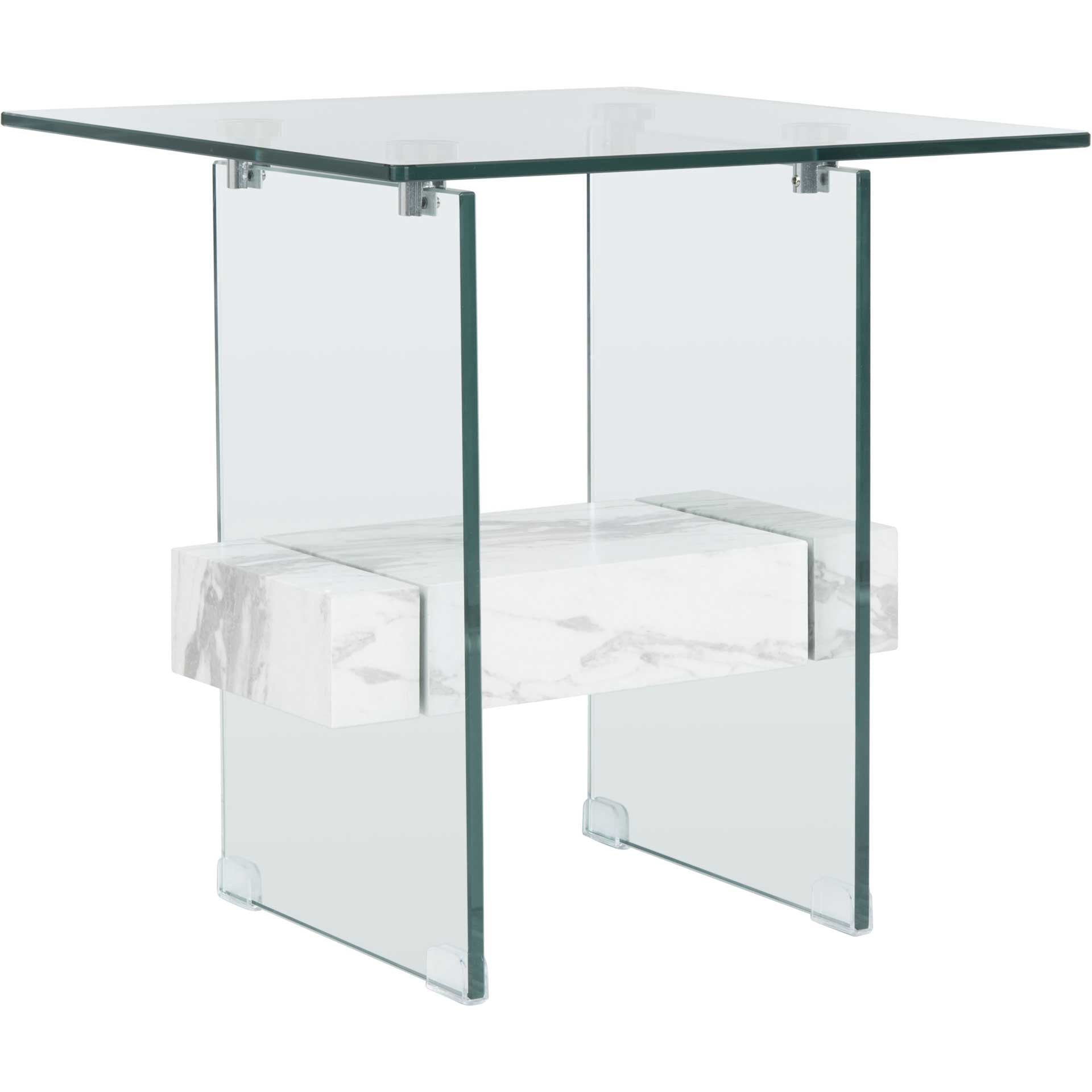 Karis Side Table Glass/White