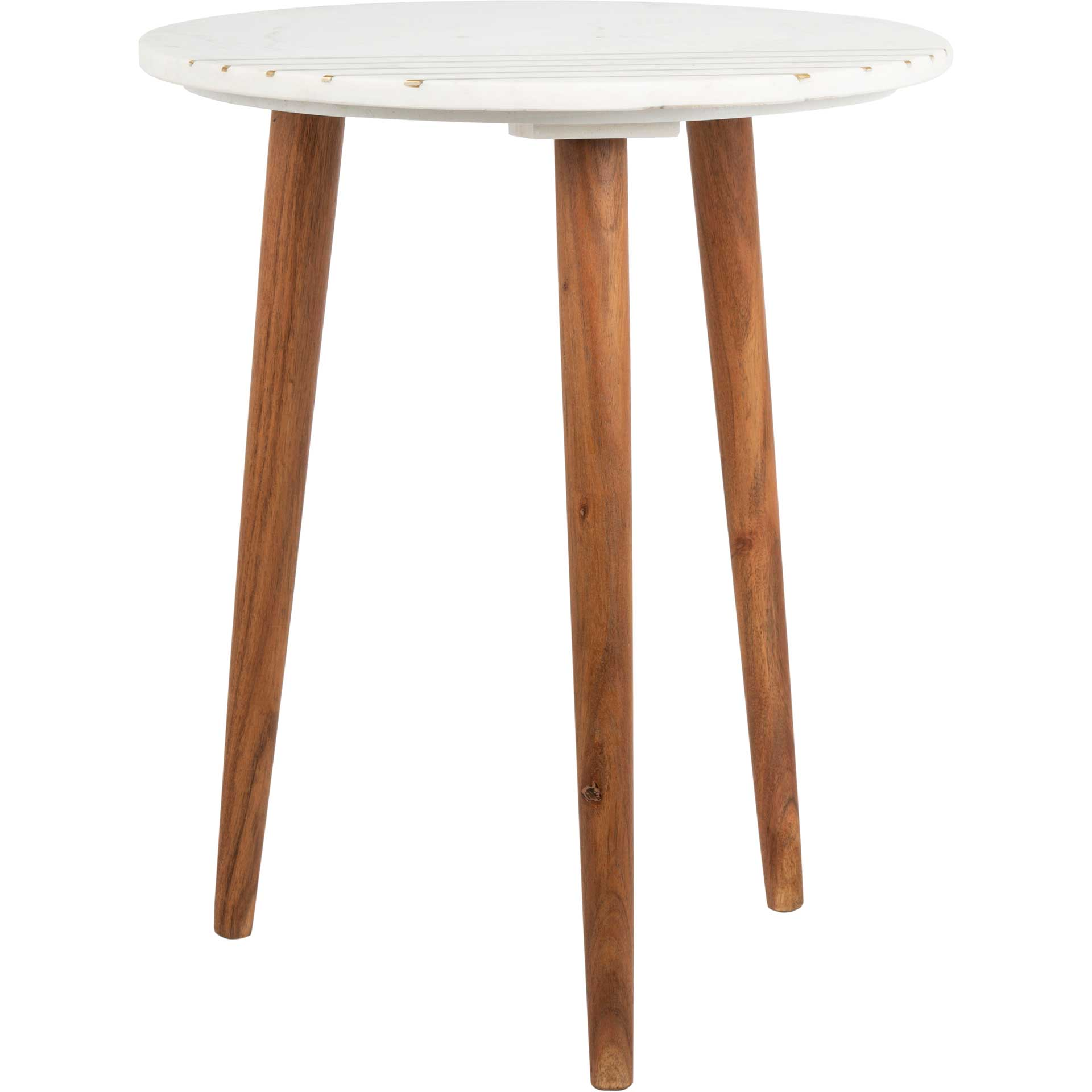 Valet Marble Accent Table Natural Brown/White/Gold