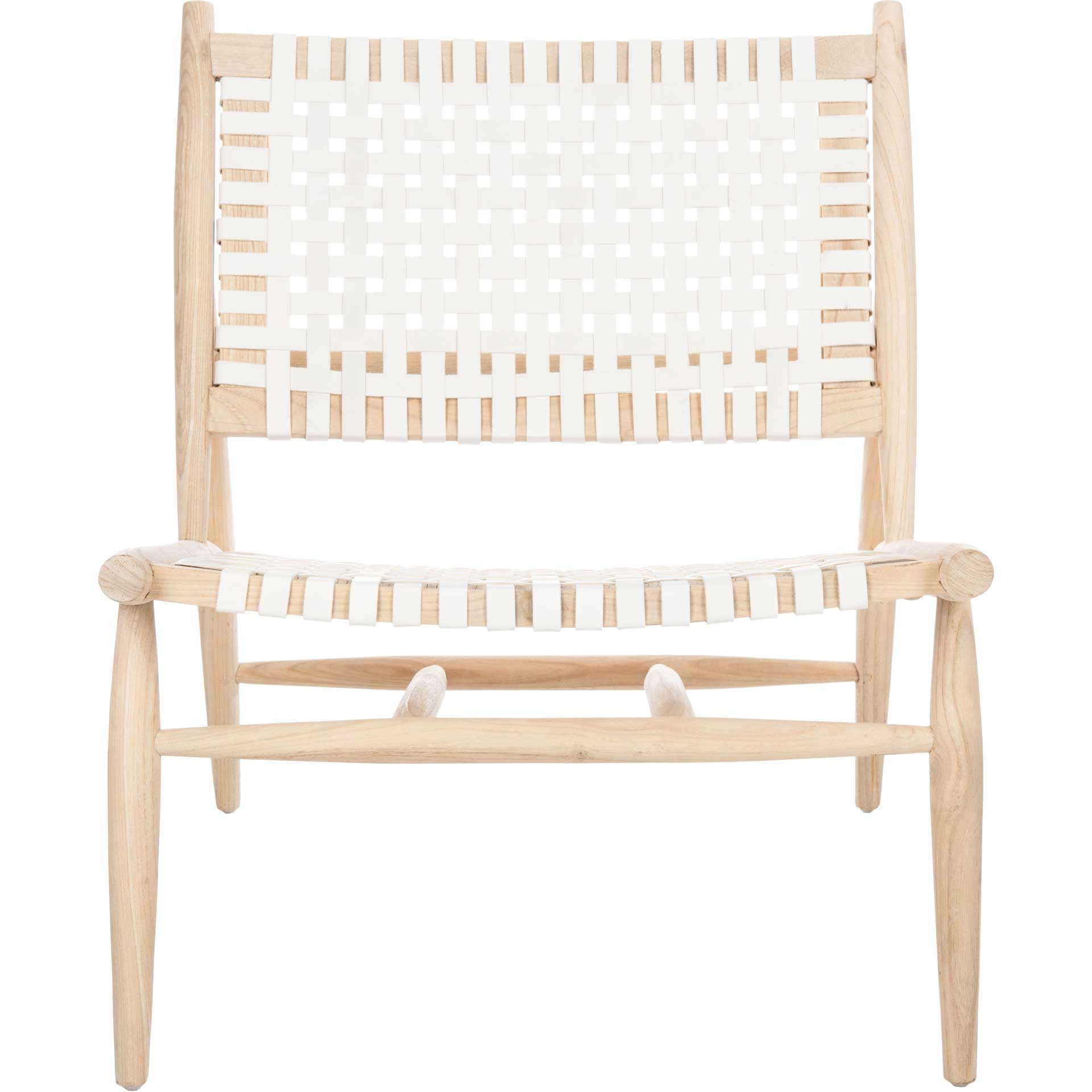Sophie Leather Woven Accent Chair White/Natural