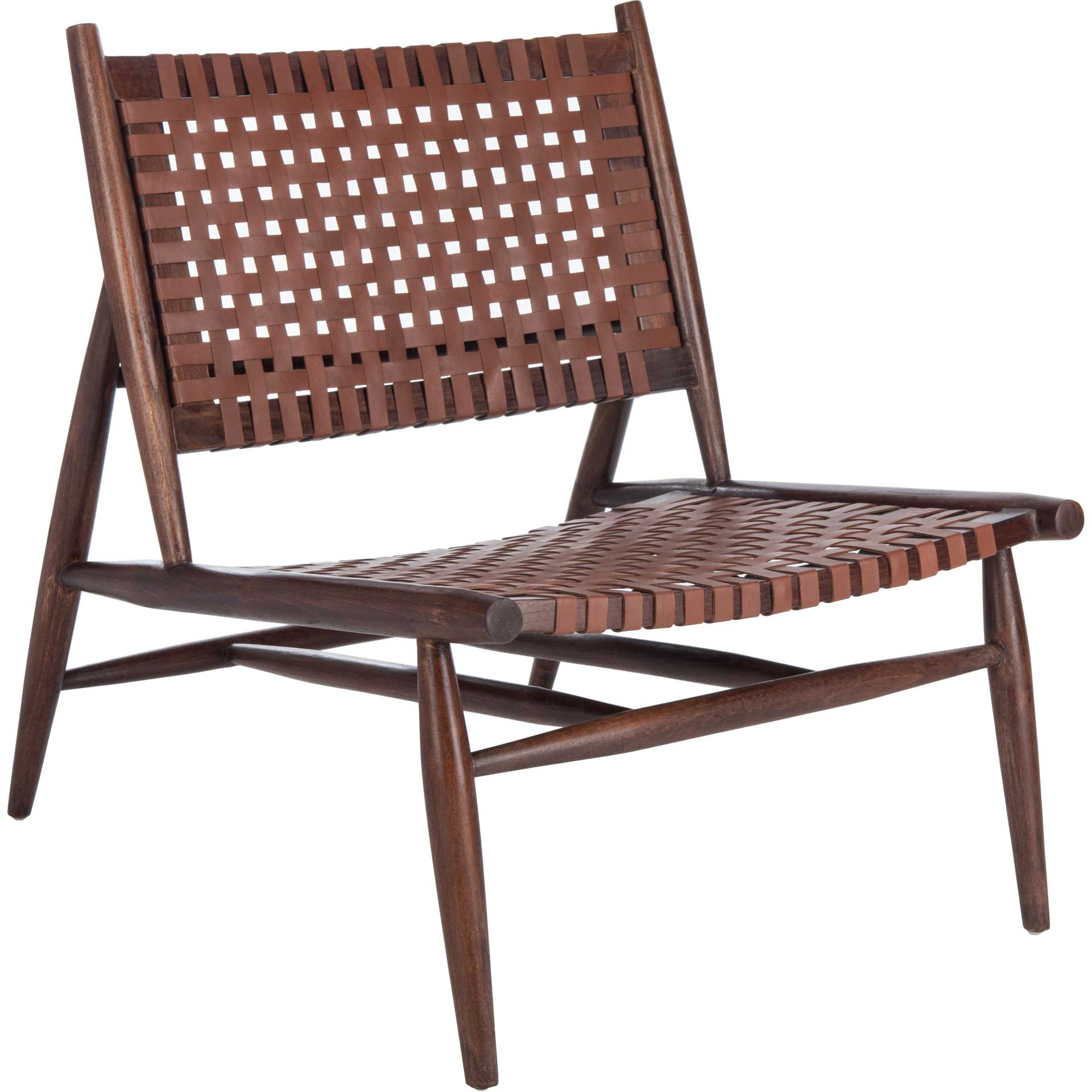 Sophie Leather Woven Accent Chair Cognac/Brown