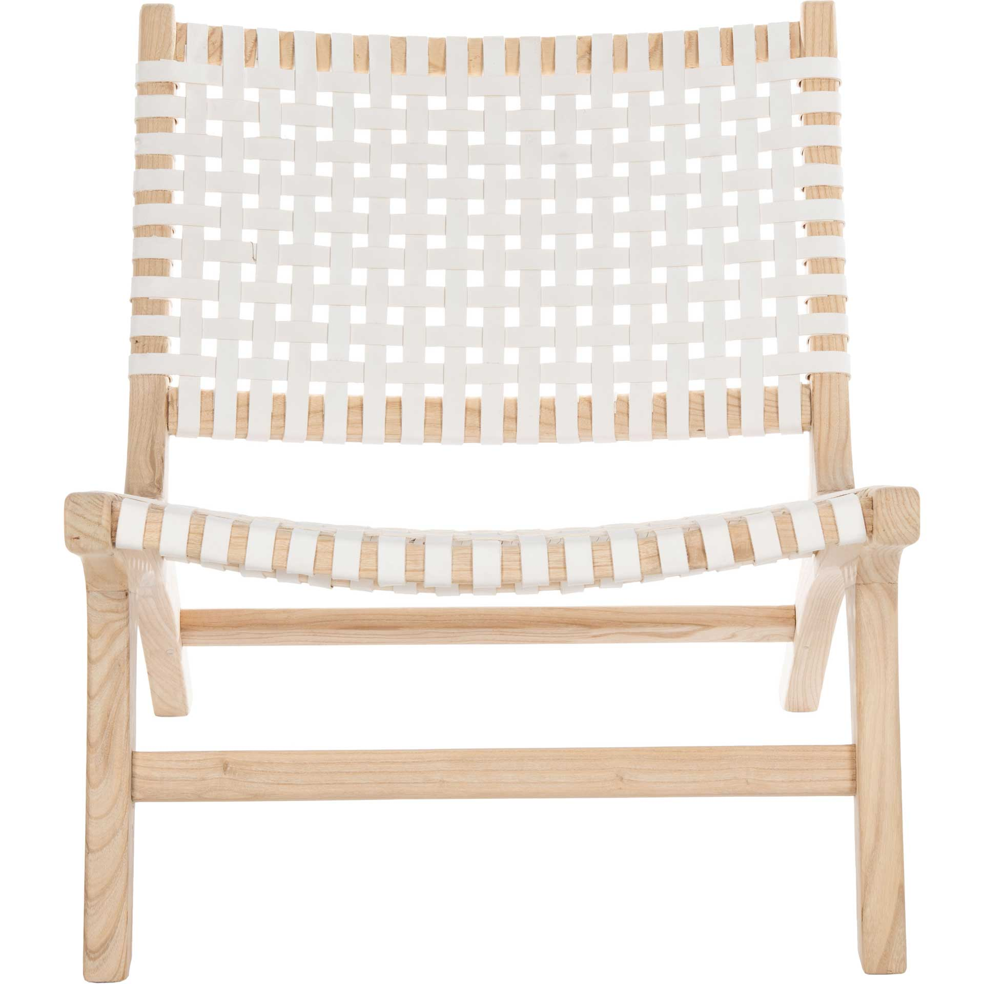 Luke Leather Woven Accent Chair Natural/White