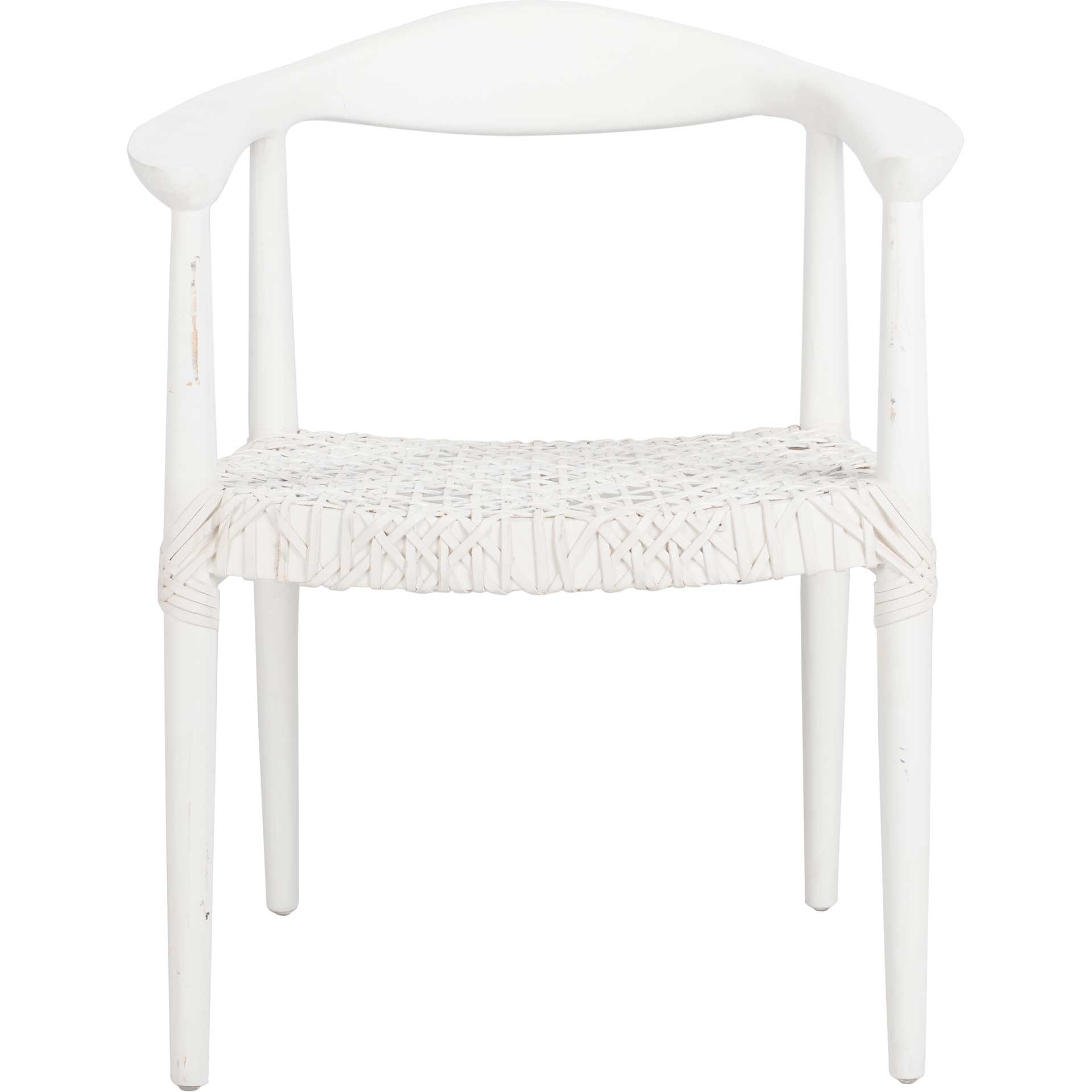 Justin Leather Woven Accent Chair White/Off-White