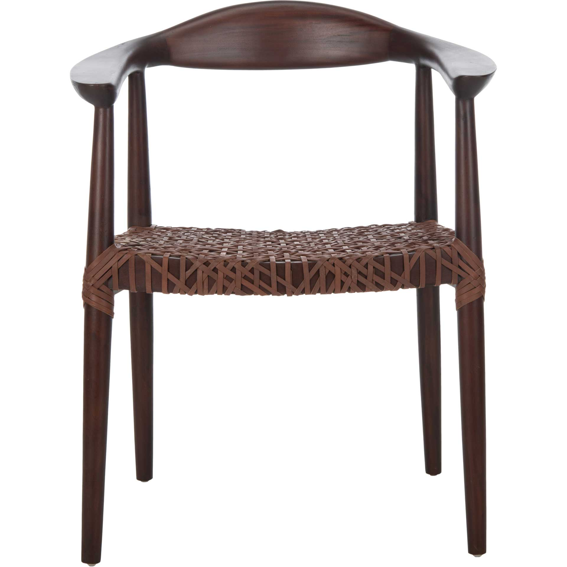 Justin Leather Woven Accent Chair Walnut/Brown