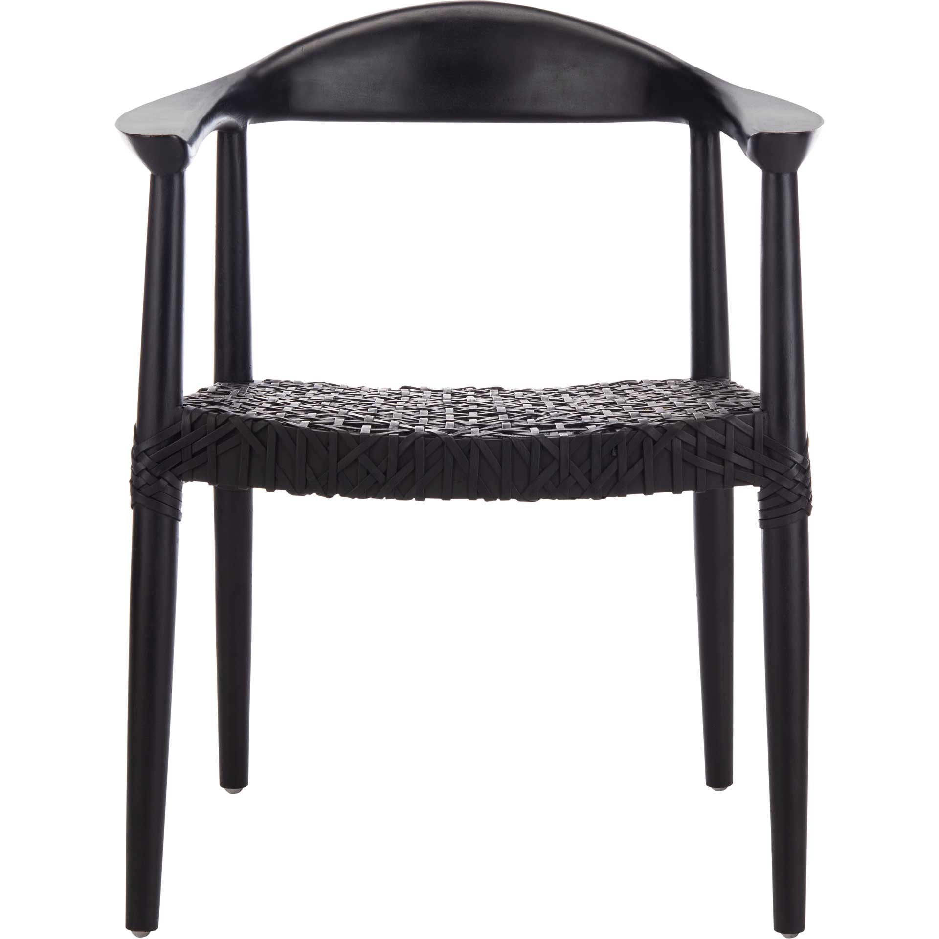 Justin Leather Woven Accent Chair Black