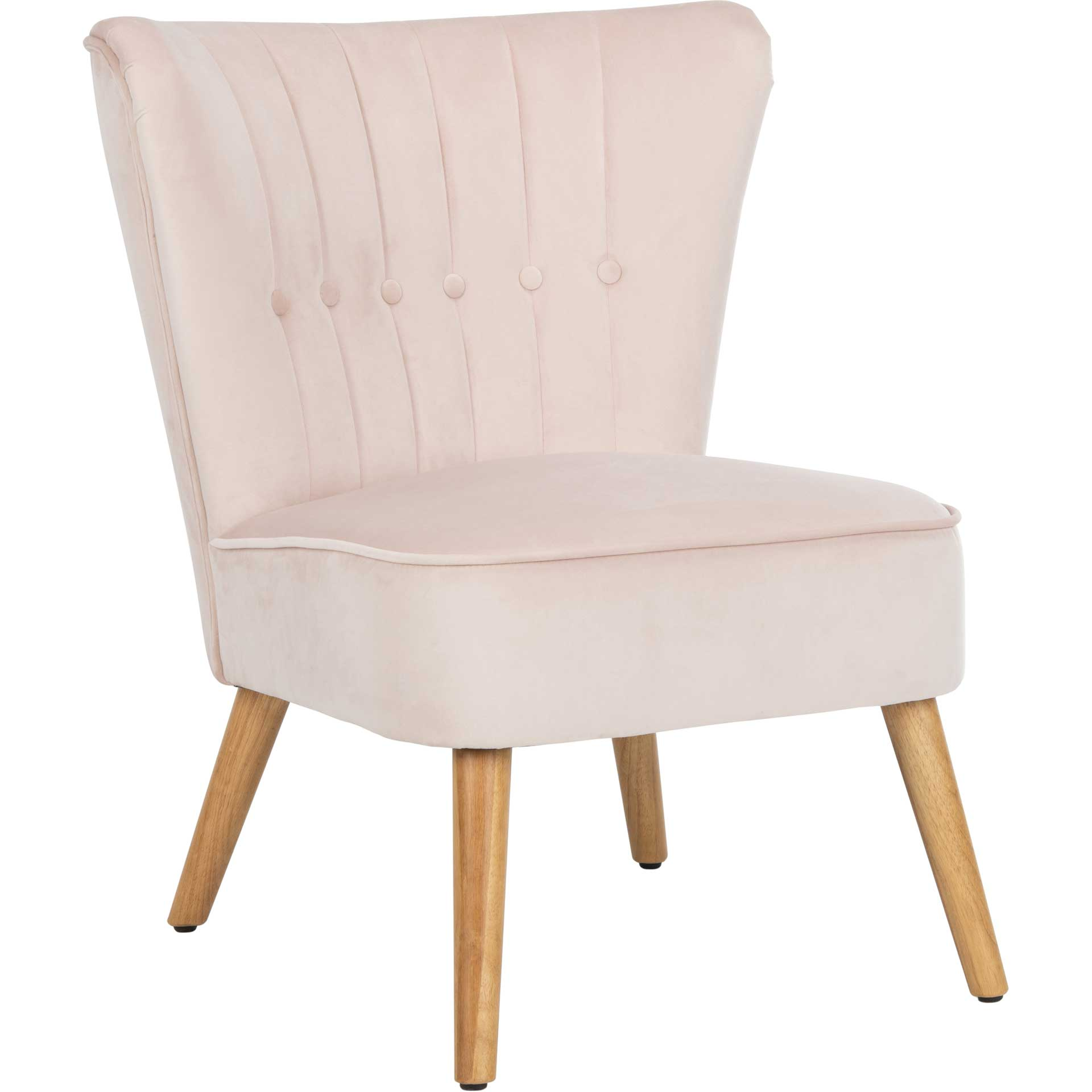 Juliet Mid Century Accent Chair Pale Pink/Natural