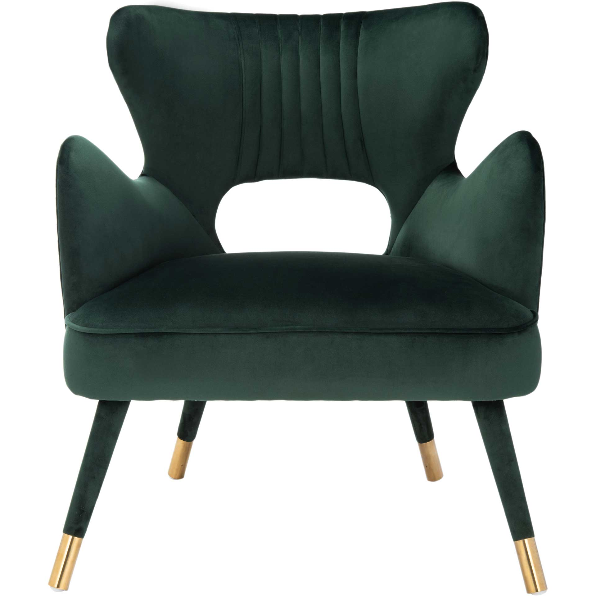 Blake Wingback Accent Chair Forest Green/Gold