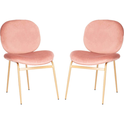 Jorden Round Side Chair Dusty Rose/Gold (Set of 2)