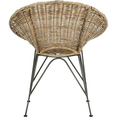 Sienna Rattan Accent Chair Gray Wash/Dark Steel