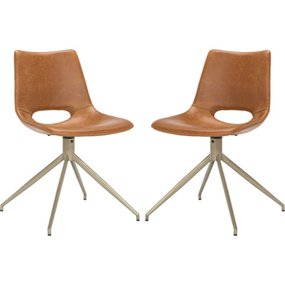 Dalary Leather Swivel Chair Light Brown (Set of 2)