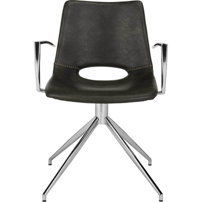 Dalton Leather Swivel Arm Chair