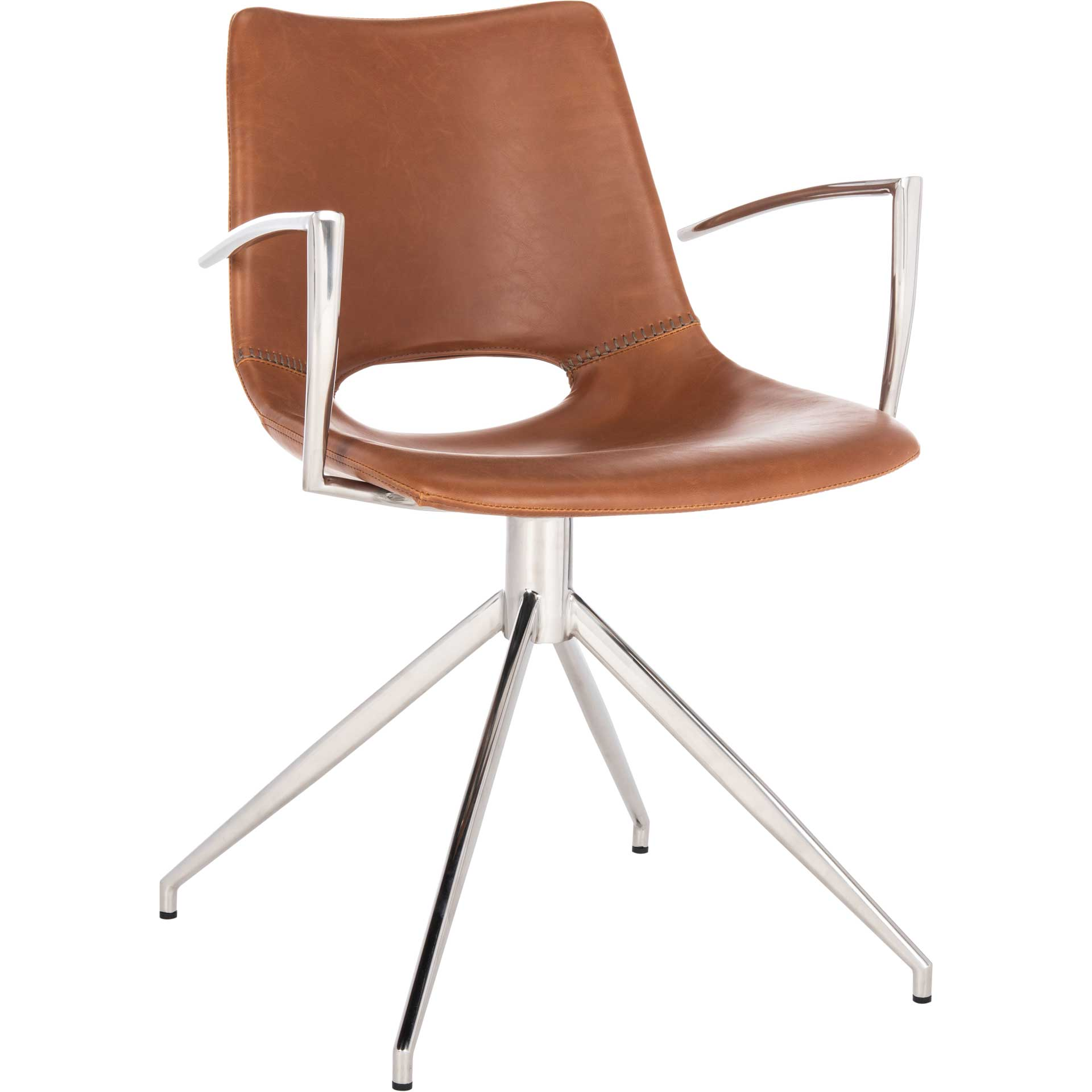 Dalton Leather Swivel Arm Chair Light Brown/Silver
