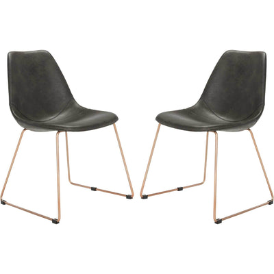 Dorothy Leather Side Chair Gray (Set of 2)