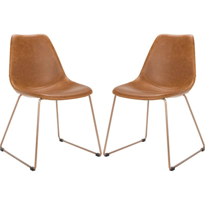 Dorothy Leather Side Chair Light Brown (Set of 2)