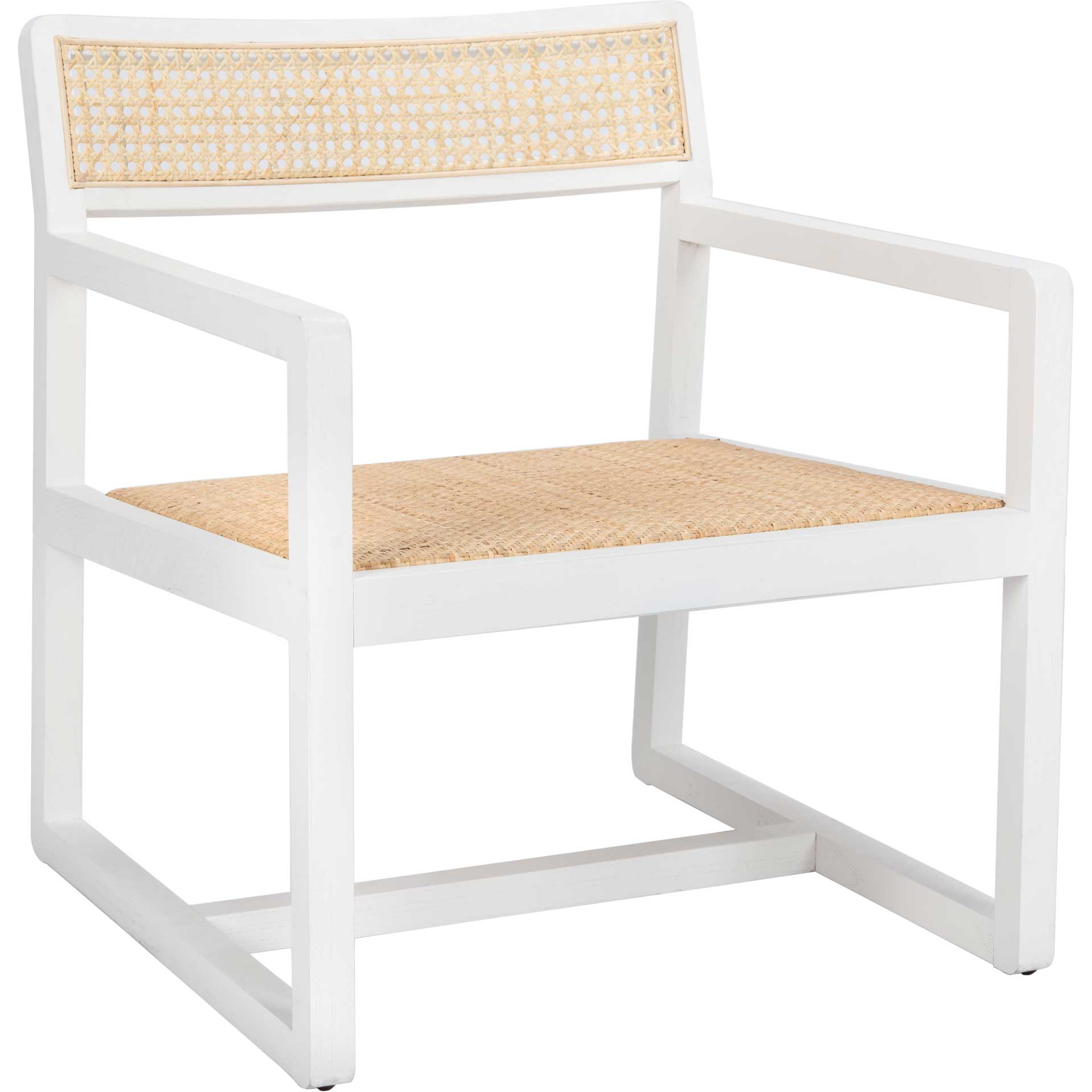 Lucy Cane Accent Chair White/Natural
