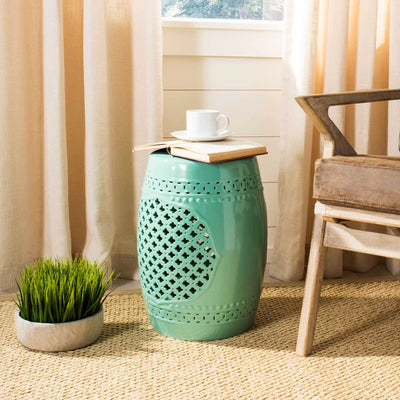 Adelyn Quatrefoil Garden Stool Robins Egg Blue