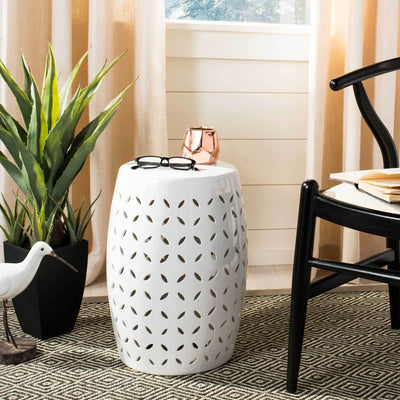 Lattice Petal Garden Stool White