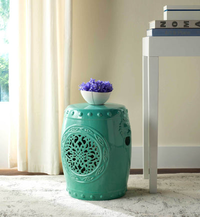 Florencia Drum Garden Stool Light Blue