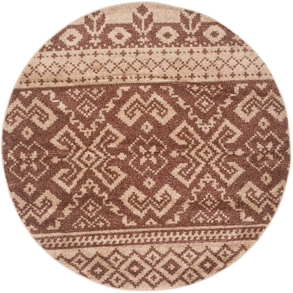 Adirondack Tribal Camel/Chocolate Round Rug