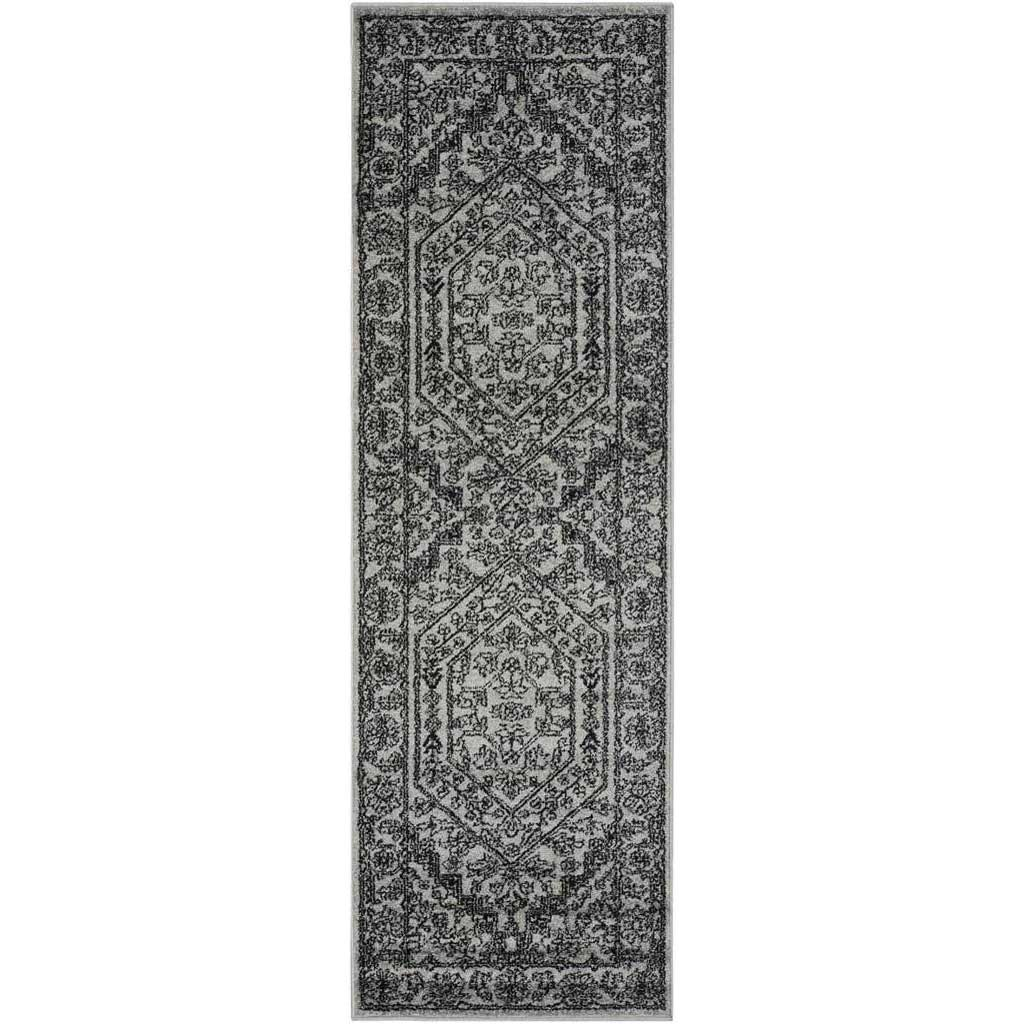 Adirondack Antique Silver/Black Runner Rug