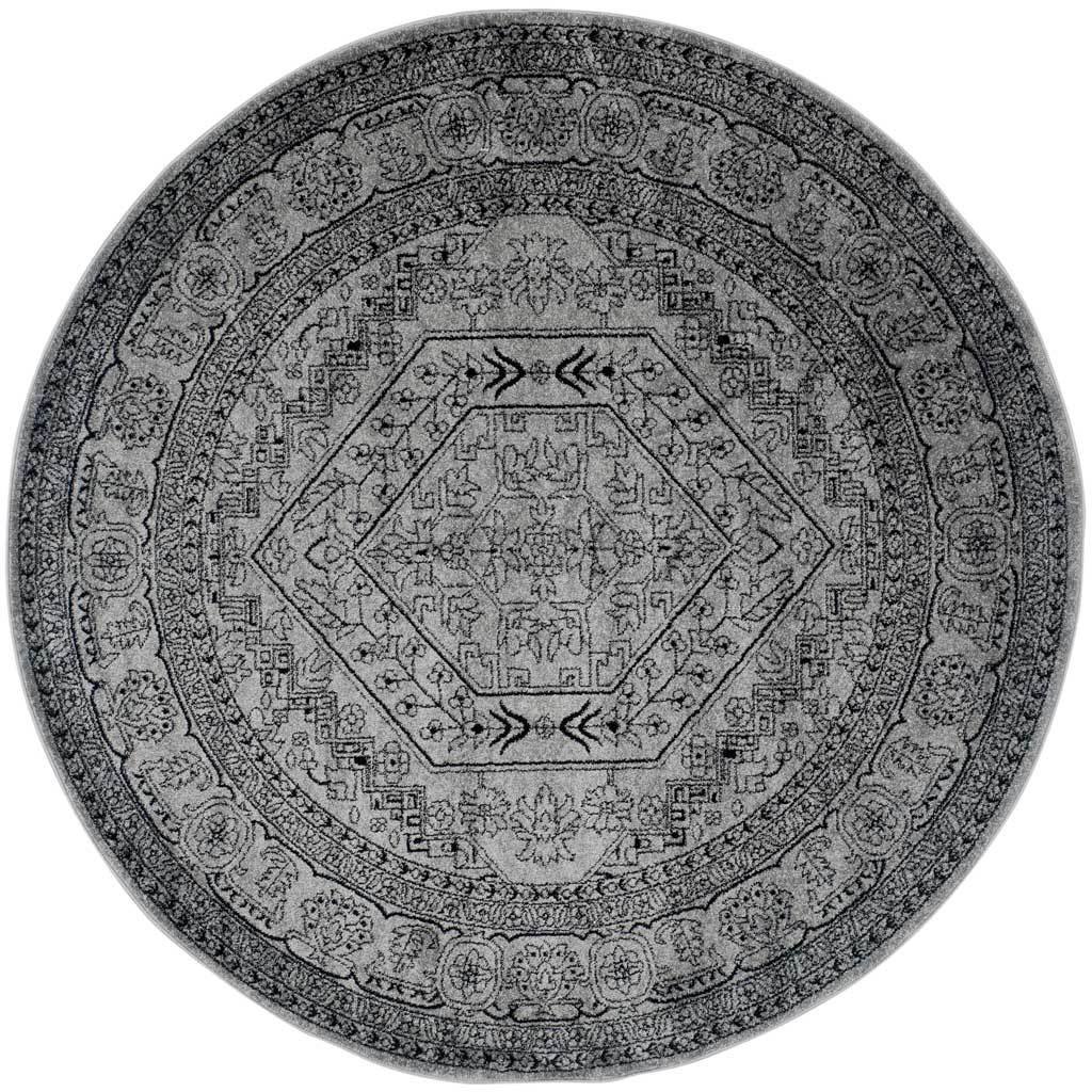 Adirondack Antique Silver/Black Round Rug