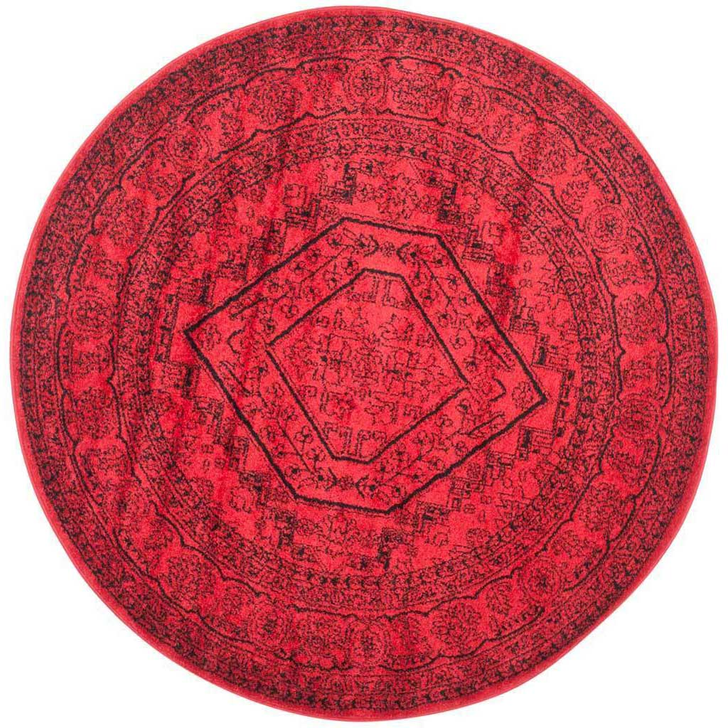 Adirondack Antique Red/Black Round Rug