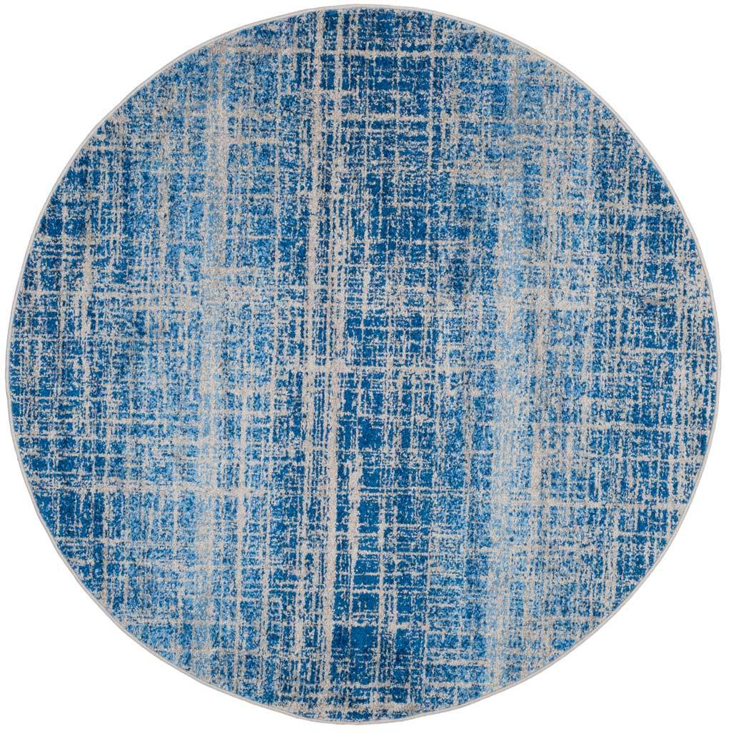 Adirondack Frequency Blue/Silver Round Rug