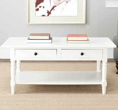 Bobby 2 Drawer Coffee Table Distressed Cream