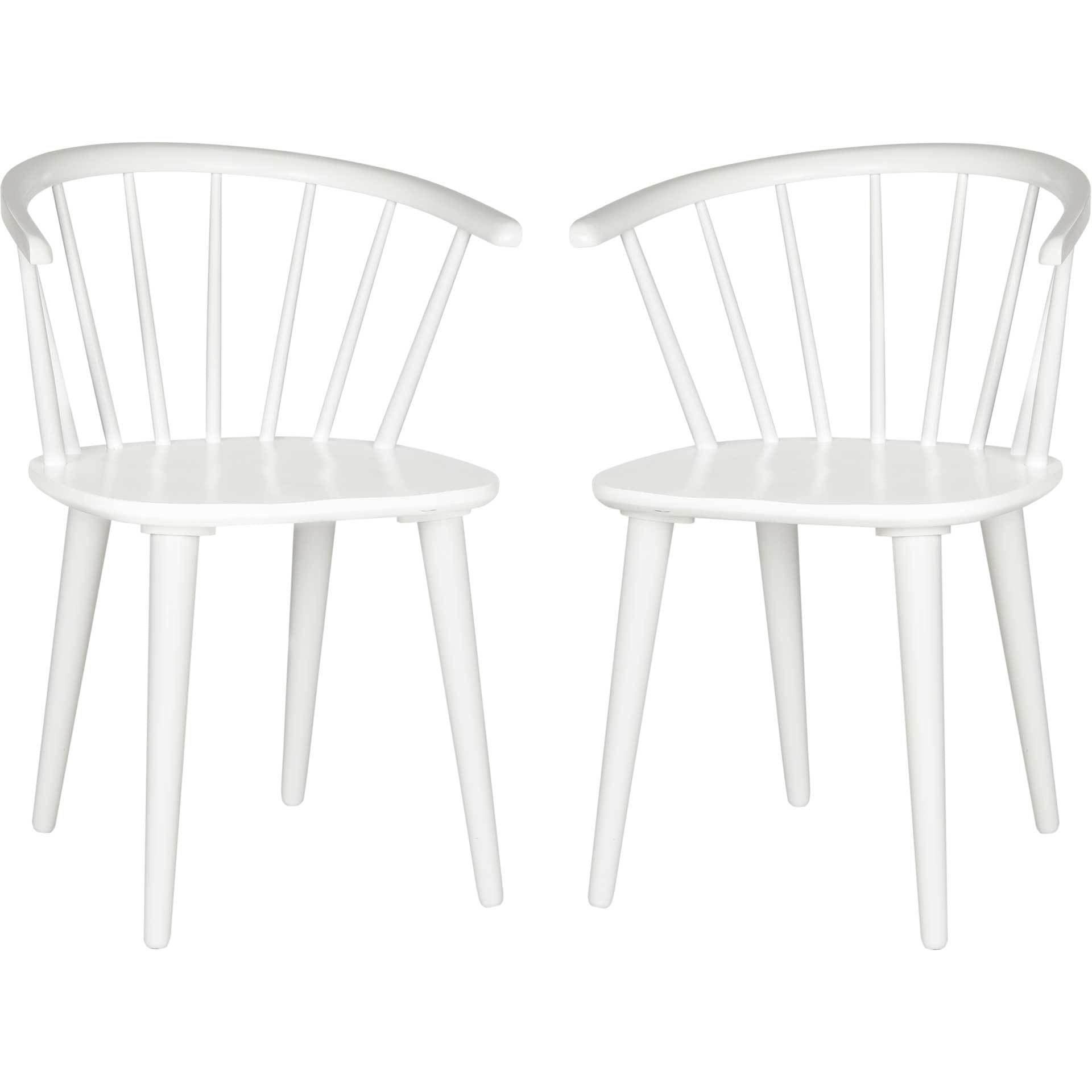 Blair Curved Spindle Side Chair White (Set of 2)