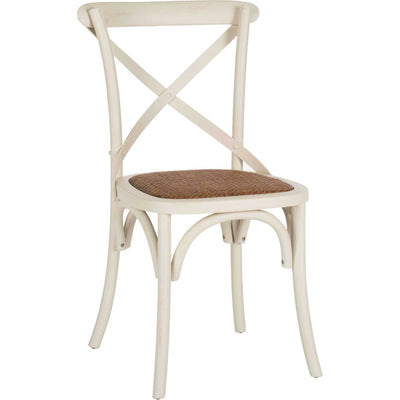 Frederick X Back Farmhouse Chair Distressed Ivory (Set of 2)