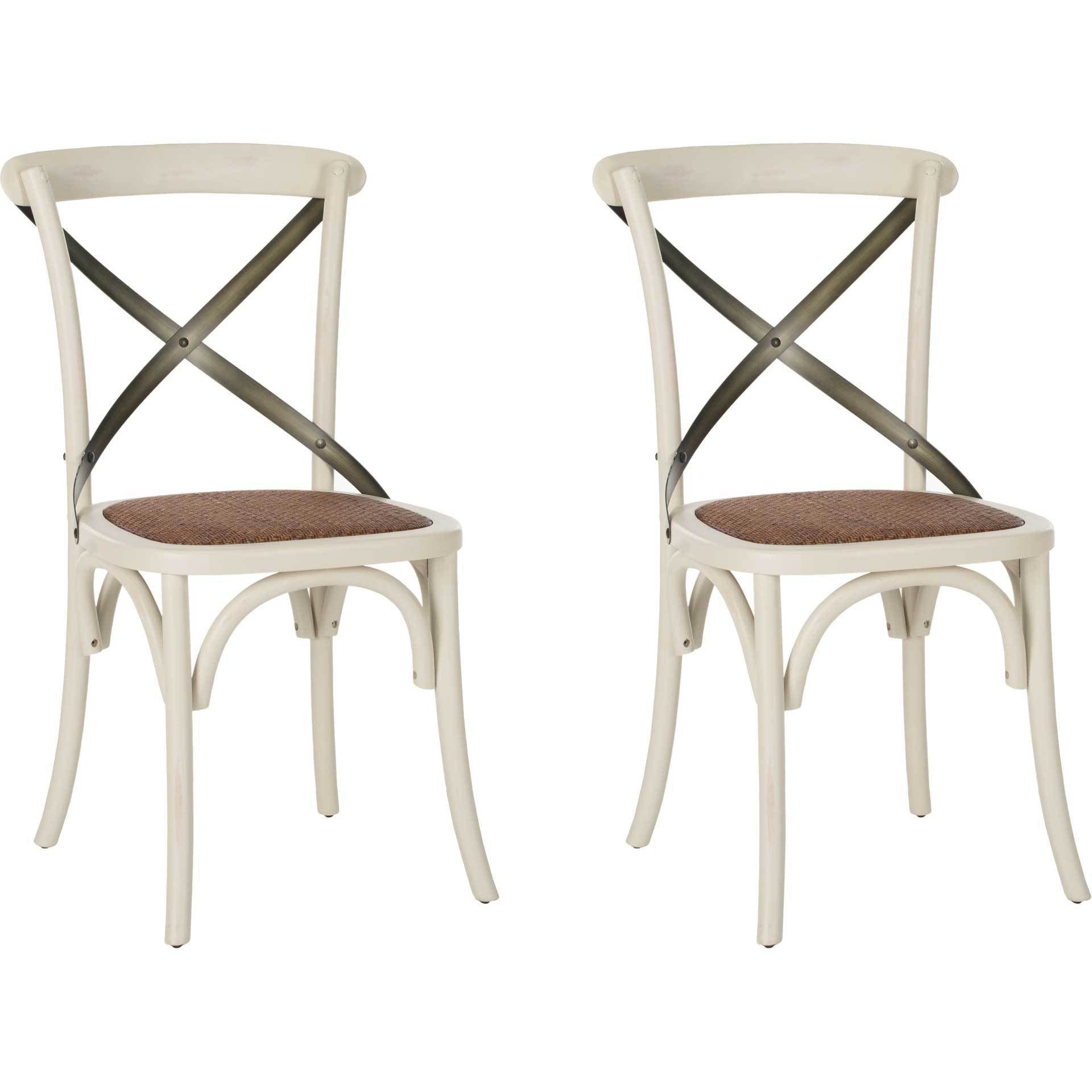 Elisabeth X Back Farmhouse Side Chair Distressed Ivory (Set of 2)
