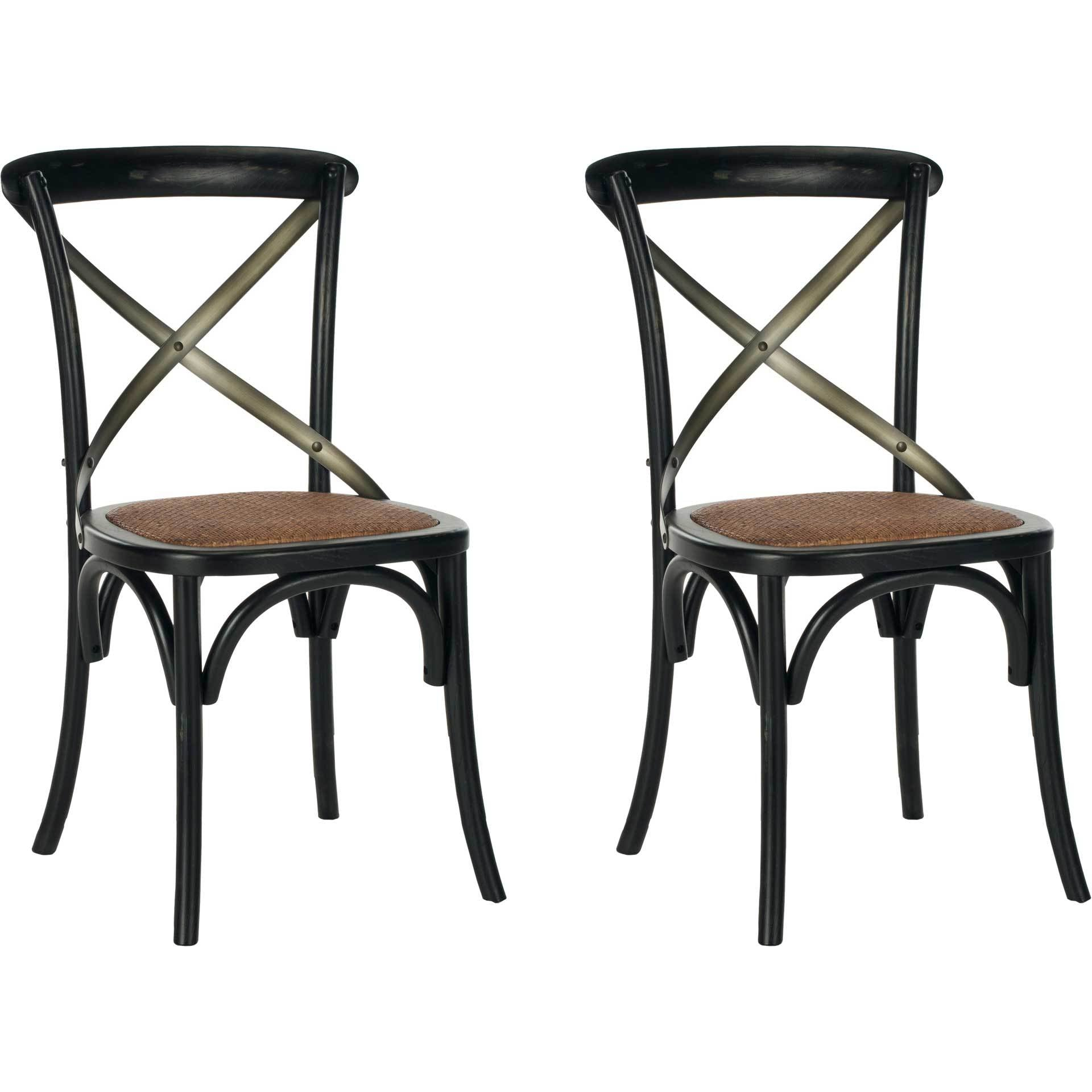 Elisabeth X Back Farmhouse Side Chair Distressed Hickory (Set of 2)