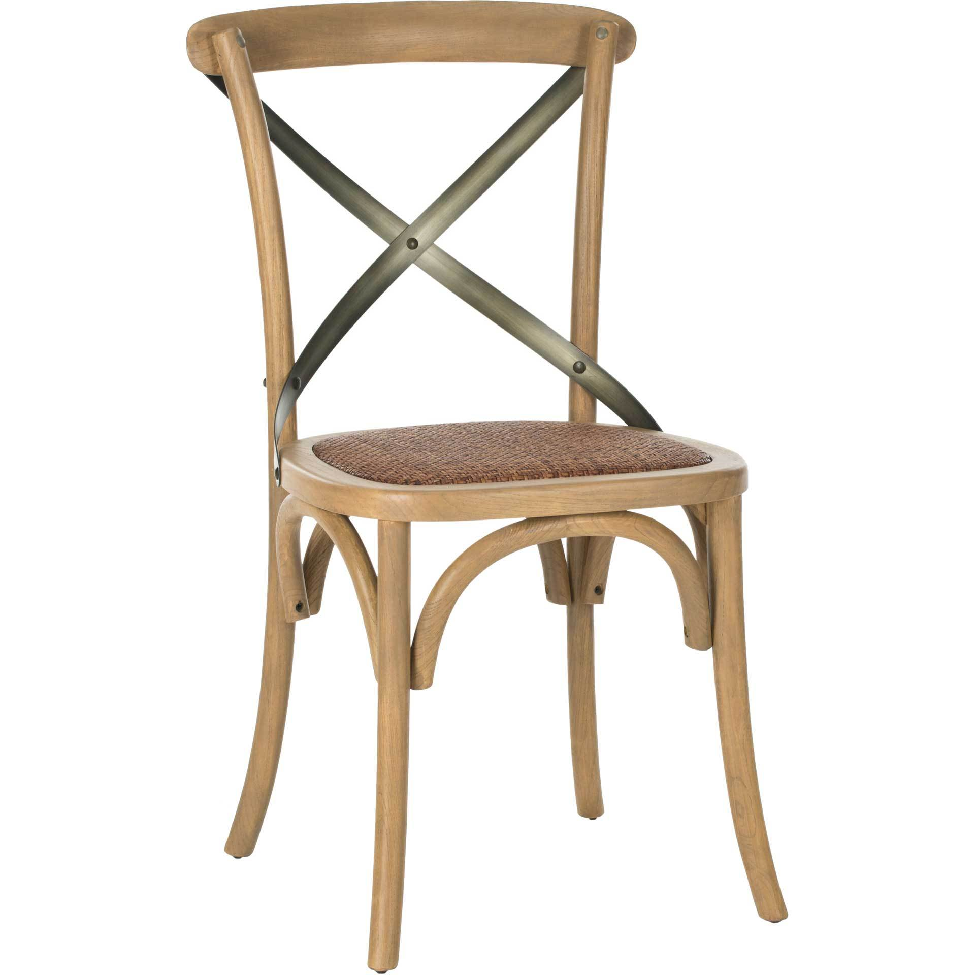 Elisabeth X Back Farmhouse Side Chair Weathered Oak (Set of 2)