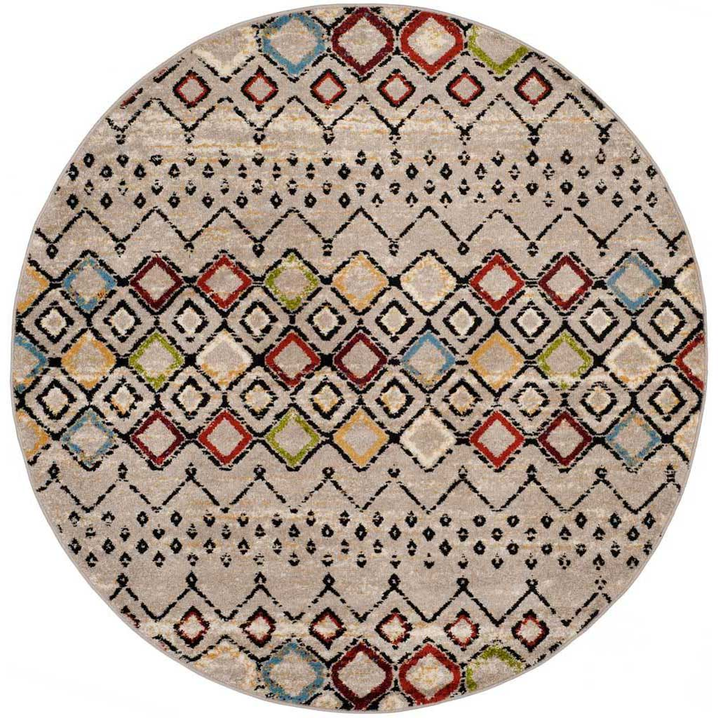 Amsterdam Light Gray/Multi Round Rug