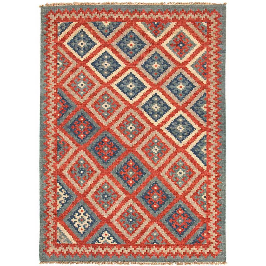 Anatolia Ottoman Burnt Brick/Medium Blue Area Rug