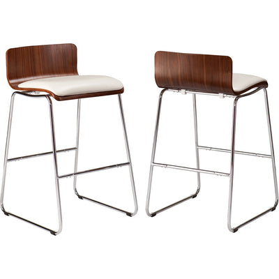 Conley Stools Walnut/White (Set of 2)