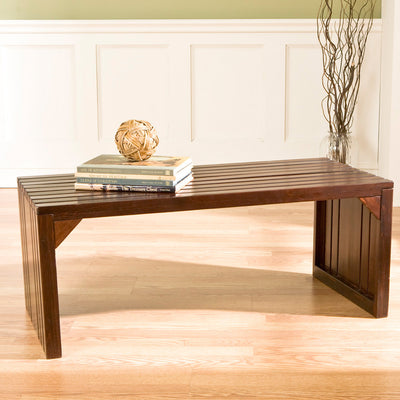 Slat Wood Bench/Table Espresso