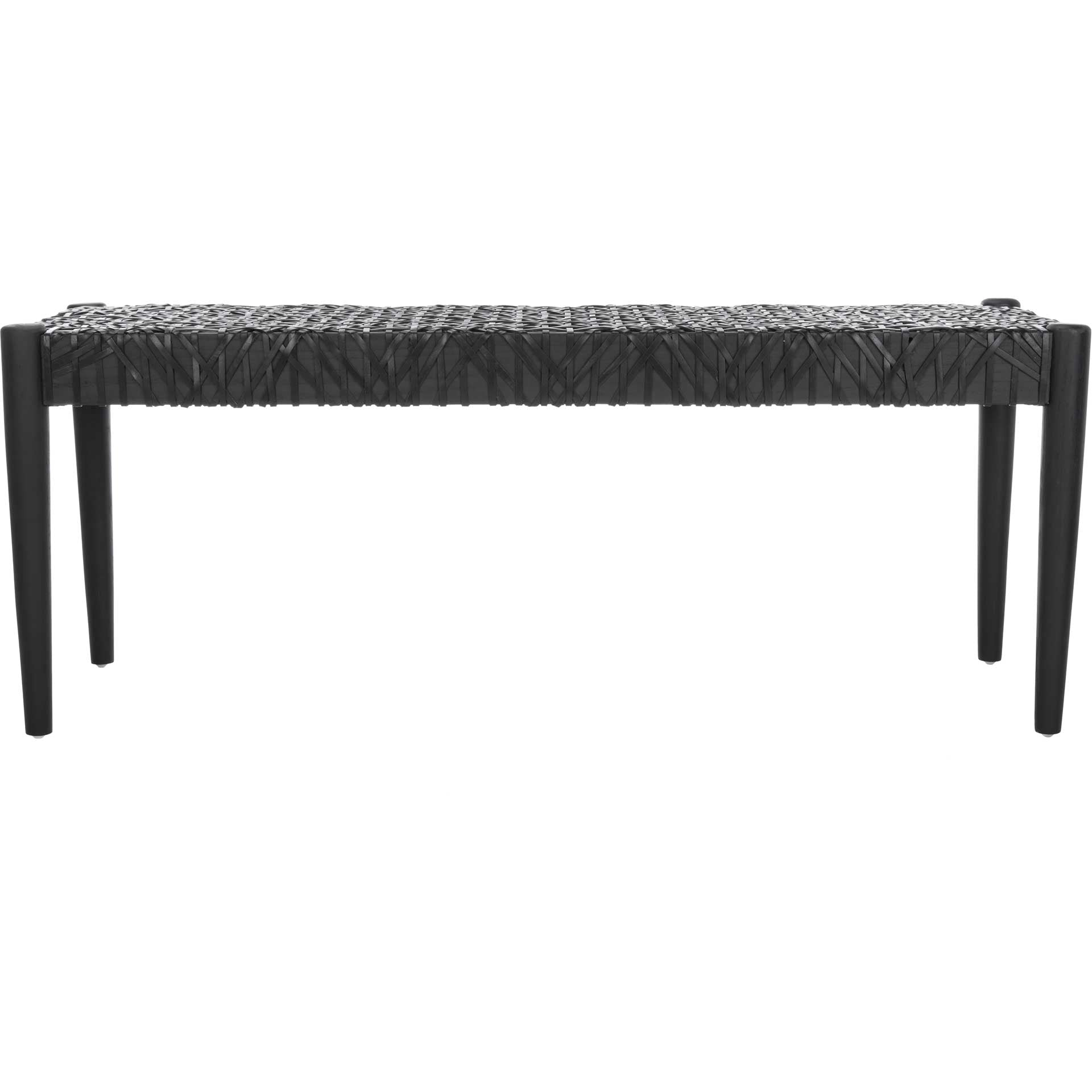 Baize Leather Weave Bench Black/Black