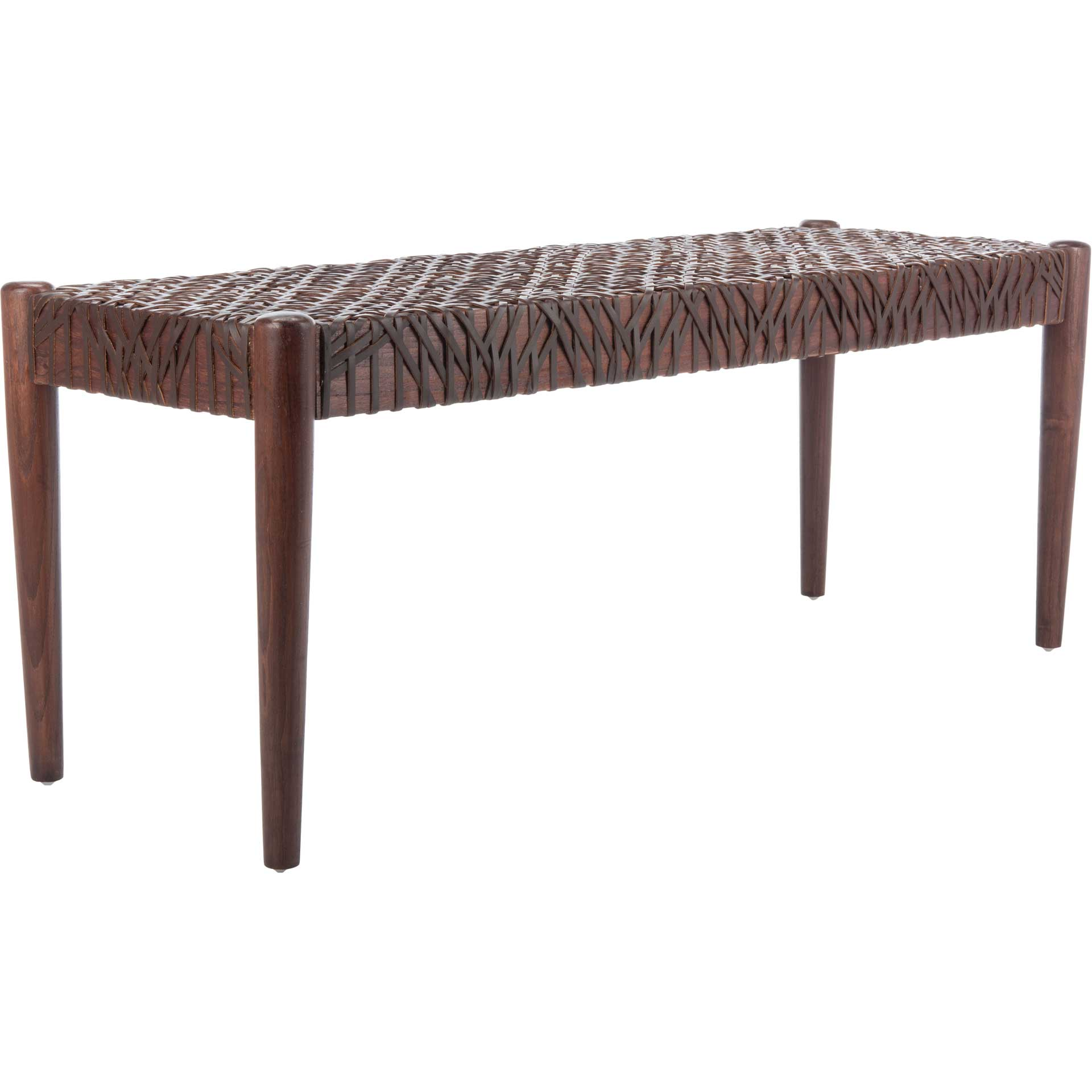 Baize Leather Weave Bench Brown/Brown