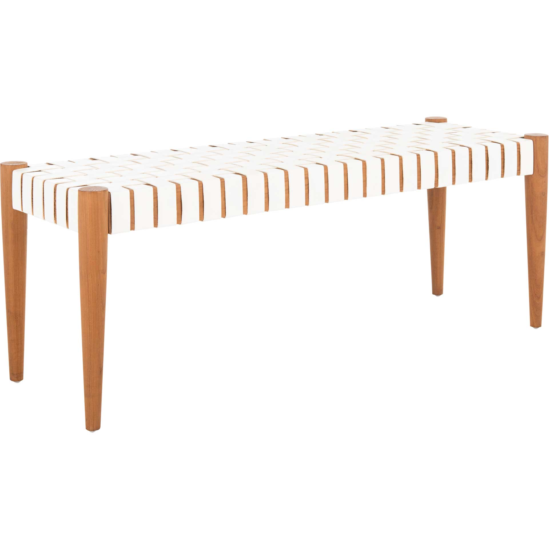 Amos Leather Weave Bench White/Oak